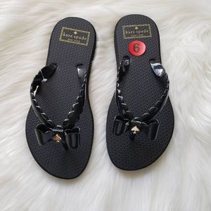 Kate Spade Denise Flip Flops Sz 6, Black